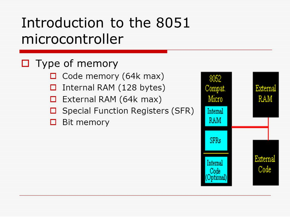 Introduction to the 8051 microcontroller  Type of memory  Code memory (64k max)  Internal RAM (128 bytes)  External RAM (64k max)  Special Functi