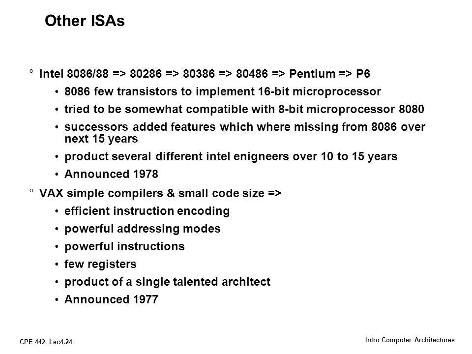 CPE 442 Lec4.24 Intro Computer Architectures Other ISAs °Intel 8086/88 => 80286 => 80386 => 80486 => Pentium => P6 8086 few transistors to implement 1