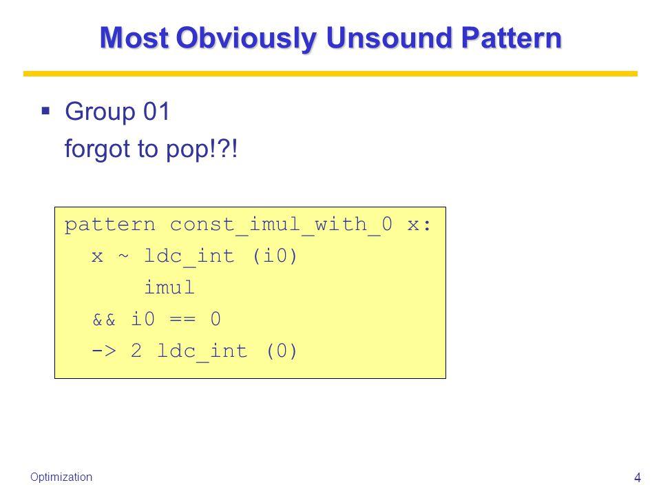 5 Optimization Most Stupid Unsound Pattern  Group 30 checks address of iload is nonzero!?.