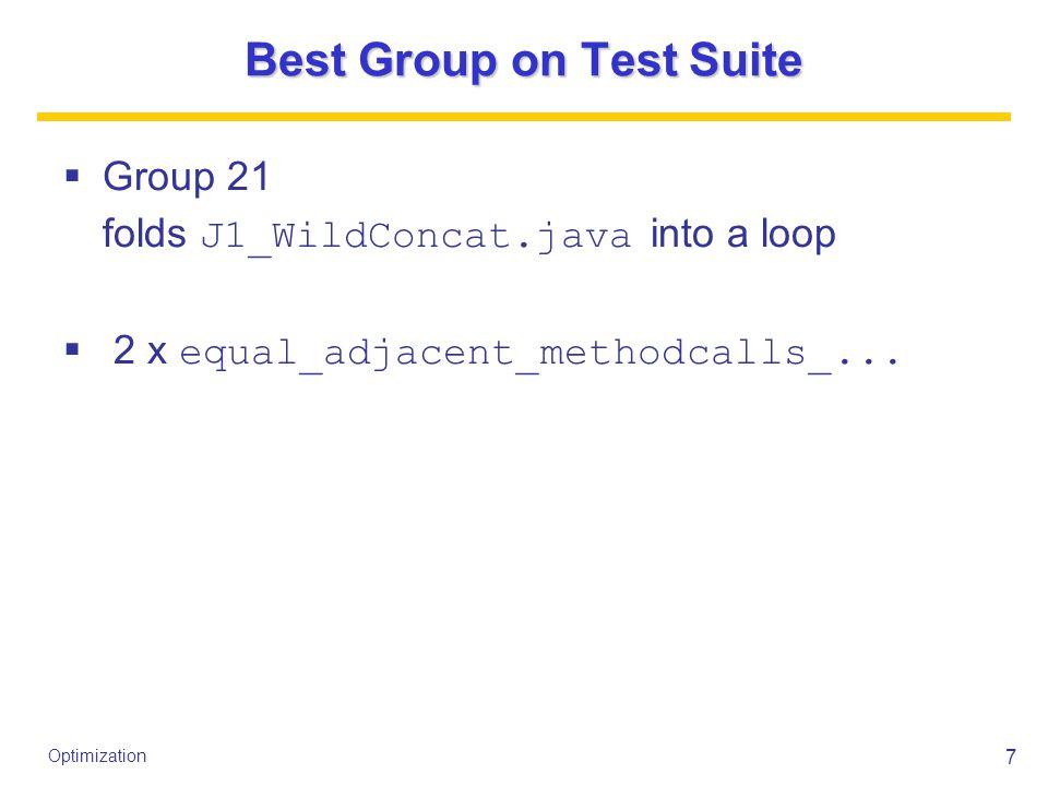 7 Optimization Best Group on Test Suite  Group 21 folds J1_WildConcat.java into a loop  2 x equal_adjacent_methodcalls_...