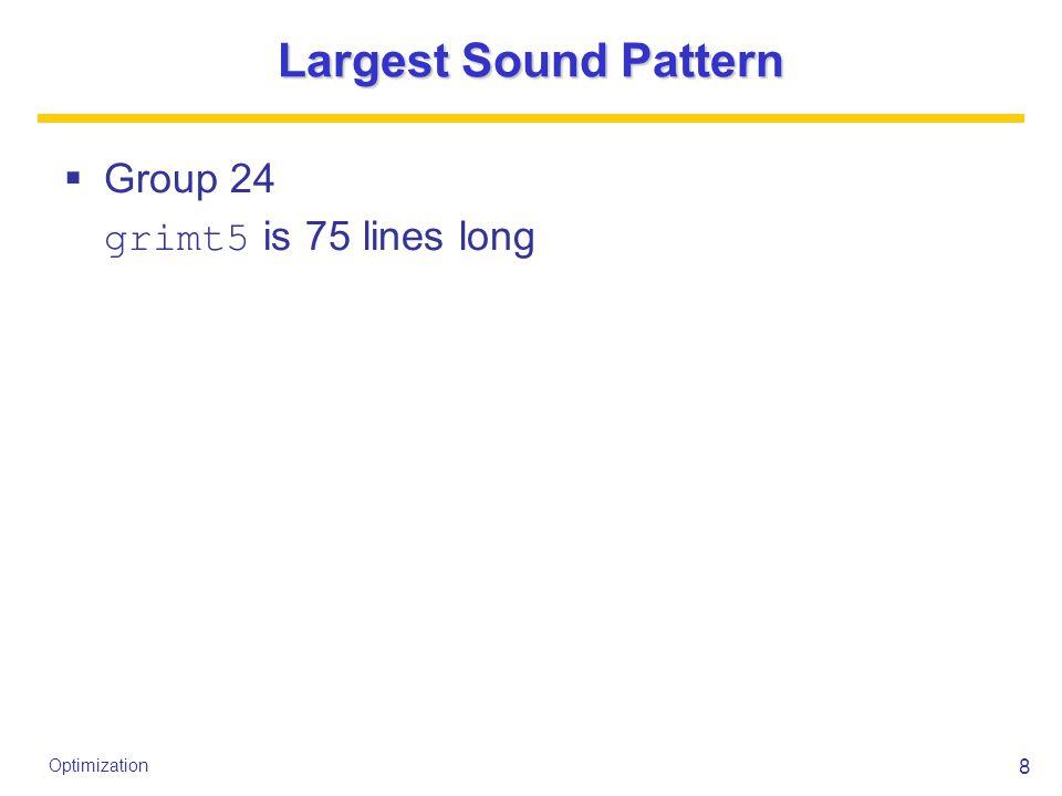 8 Optimization Largest Sound Pattern  Group 24 grimt5 is 75 lines long