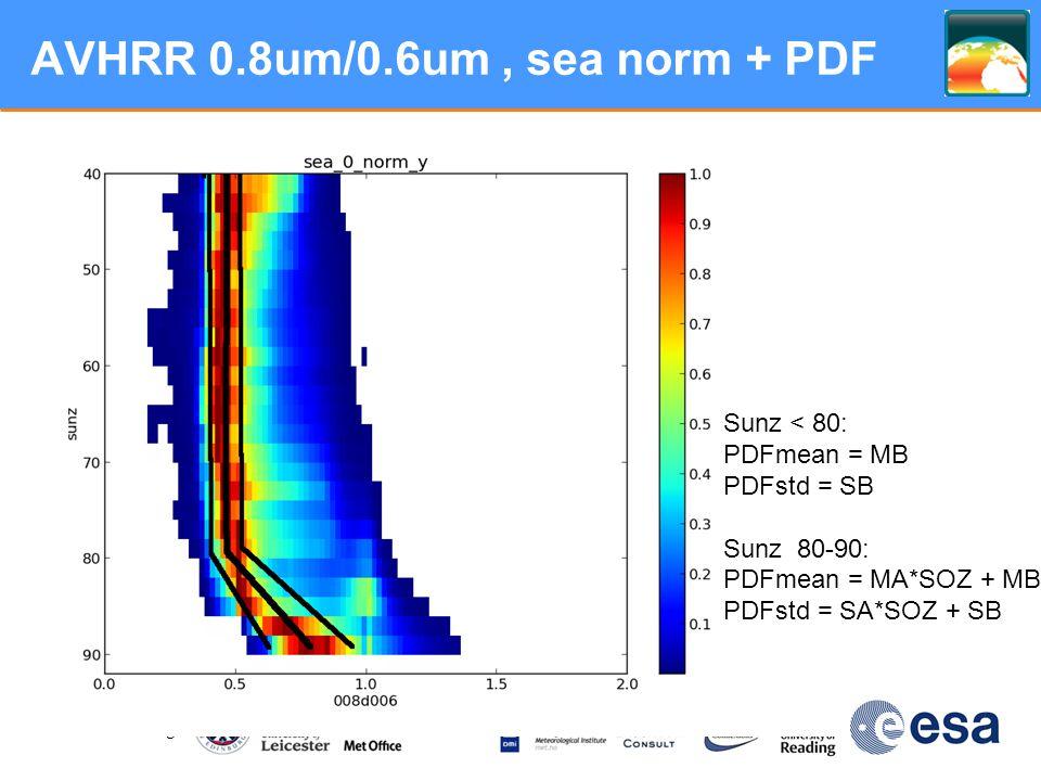 www.esa-sst-cci.org AVHRR 0.8um/0.6um, sea norm + PDF Sunz < 80: PDFmean = MB PDFstd = SB Sunz 80-90: PDFmean = MA*SOZ + MB PDFstd = SA*SOZ + SB