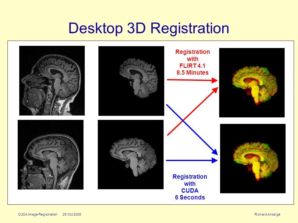 CUDA Image Registration 29 Oct 2008 Richard Ansorge Desktop 3D Registration Registration with CUDA 6 Seconds Registration with FLIRT 4.1 8.5 Minutes