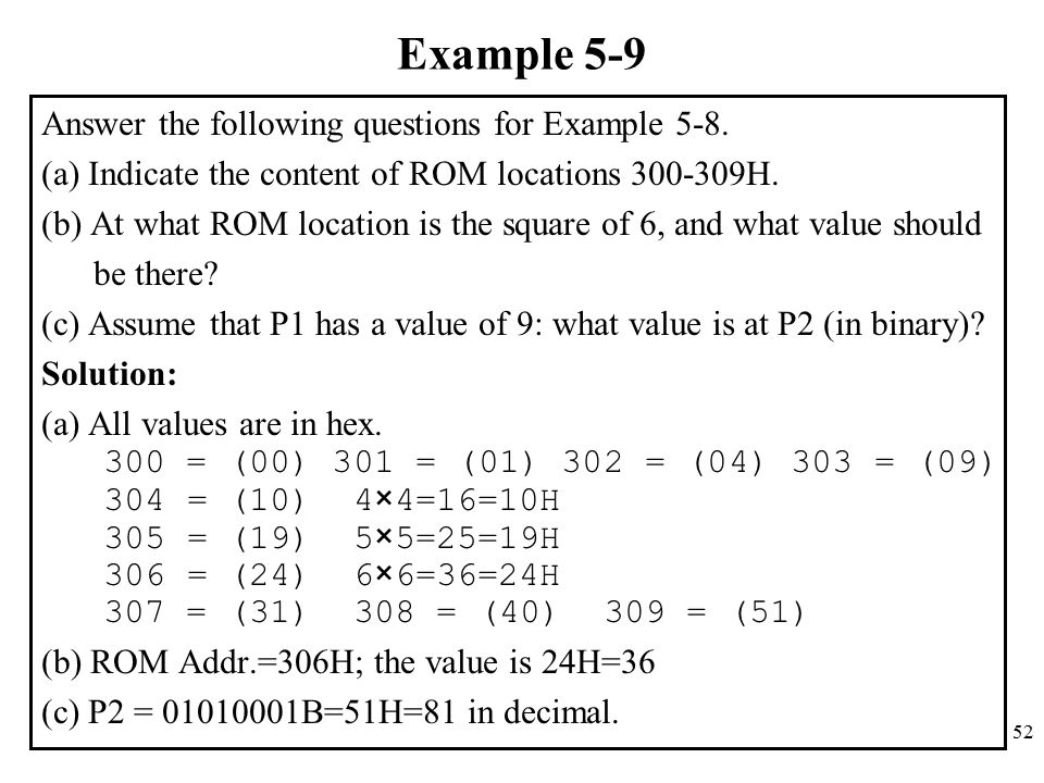 52 Example 5-9 Answer the following questions for Example 5-8.