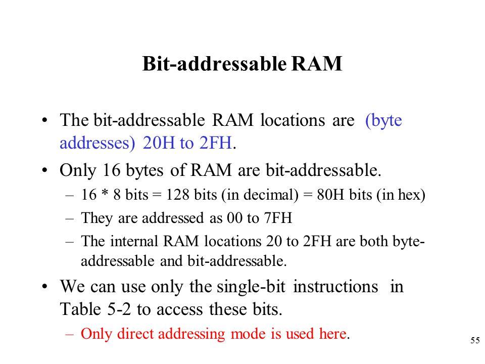 55 Bit-addressable RAM The bit-addressable RAM locations are (byte addresses) 20H to 2FH.