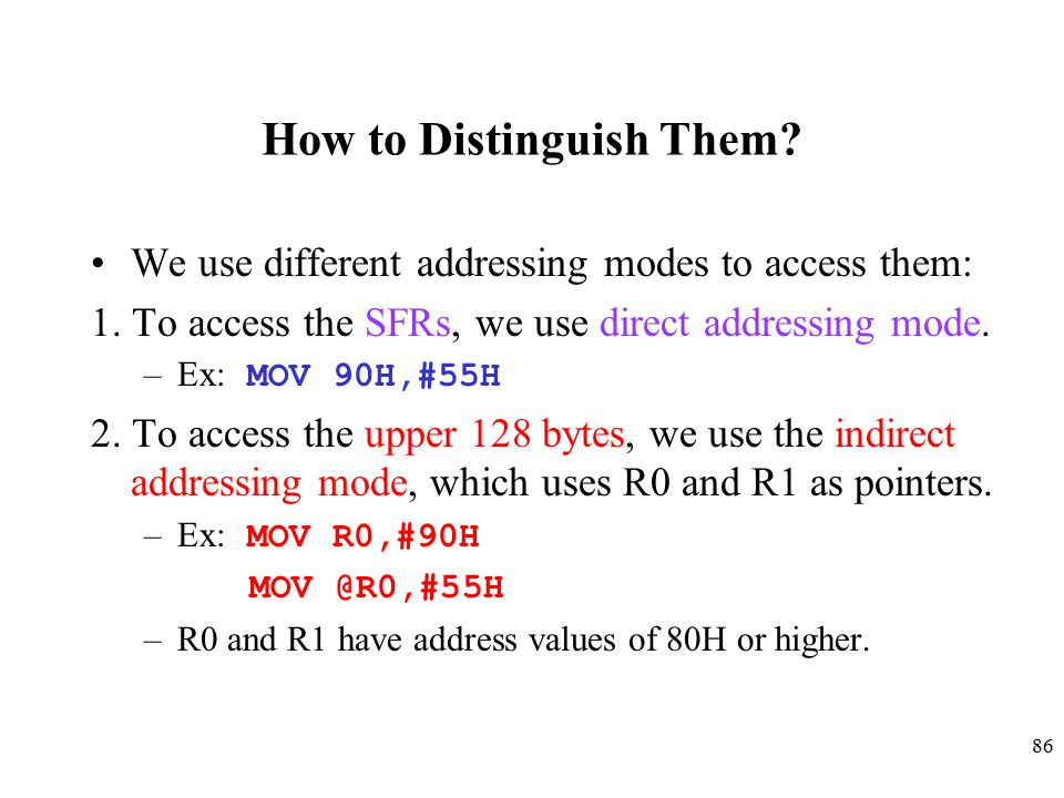 86 How to Distinguish Them.We use different addressing modes to access them: 1.