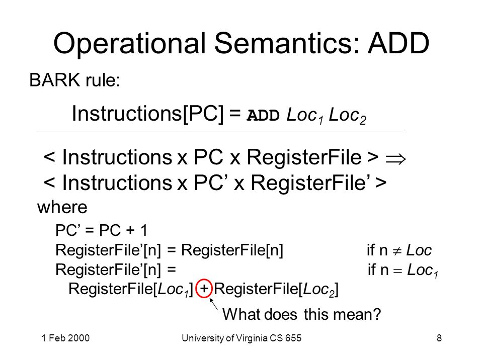1 Feb 2000University of Virginia CS 6558 Operational Semantics: ADD Instructions[PC] = ADD Loc 1 Loc 2  where PC' = PC + 1 RegisterFile'[n] = RegisterFile[n] if n  Loc RegisterFile'[n] = if n  Loc 1 RegisterFile[Loc 1 ] + RegisterFile[Loc 2 ] BARK rule: What does this mean