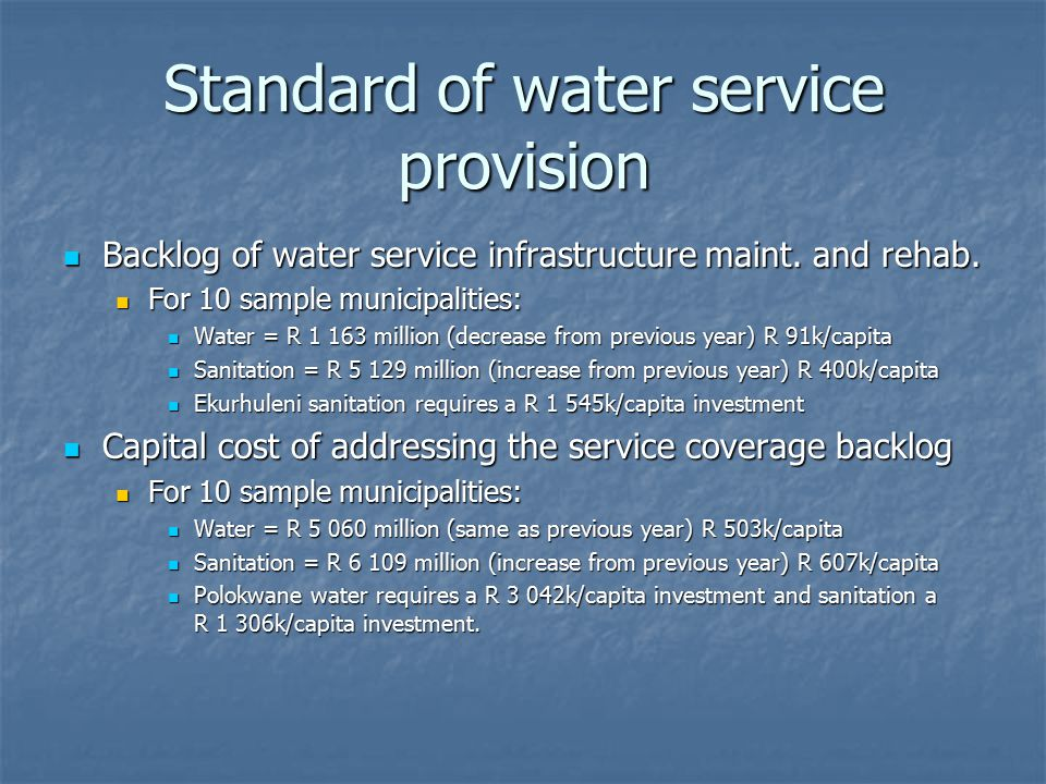 Standard of water service provision Backlog of water service infrastructure maint.