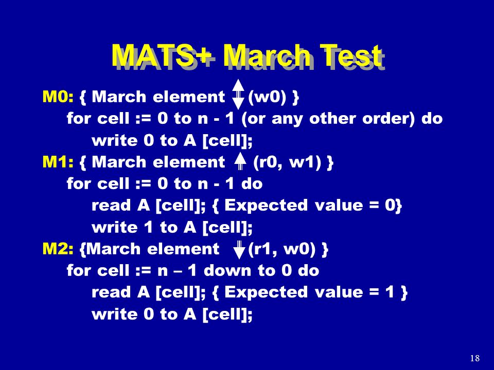 18 MATS+ March Test M0: { March element (w0) } for cell := 0 to n - 1 (or any other order) do write 0 to A [cell]; M1: { March element (r0, w1) } for cell := 0 to n - 1 do read A [cell]; { Expected value = 0} write 1 to A [cell]; M2: {March element (r1, w0) } for cell := n – 1 down to 0 do read A [cell]; { Expected value = 1 } write 0 to A [cell];