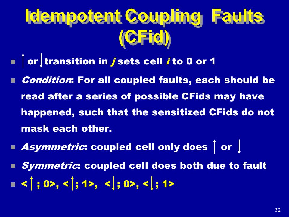 32 Idempotent Coupling Faults (CFid) n or transition in j sets cell i to 0 or 1 n Condition: For all coupled faults, each should be read after a series of possible CFids may have happened, such that the sensitized CFids do not mask each other.