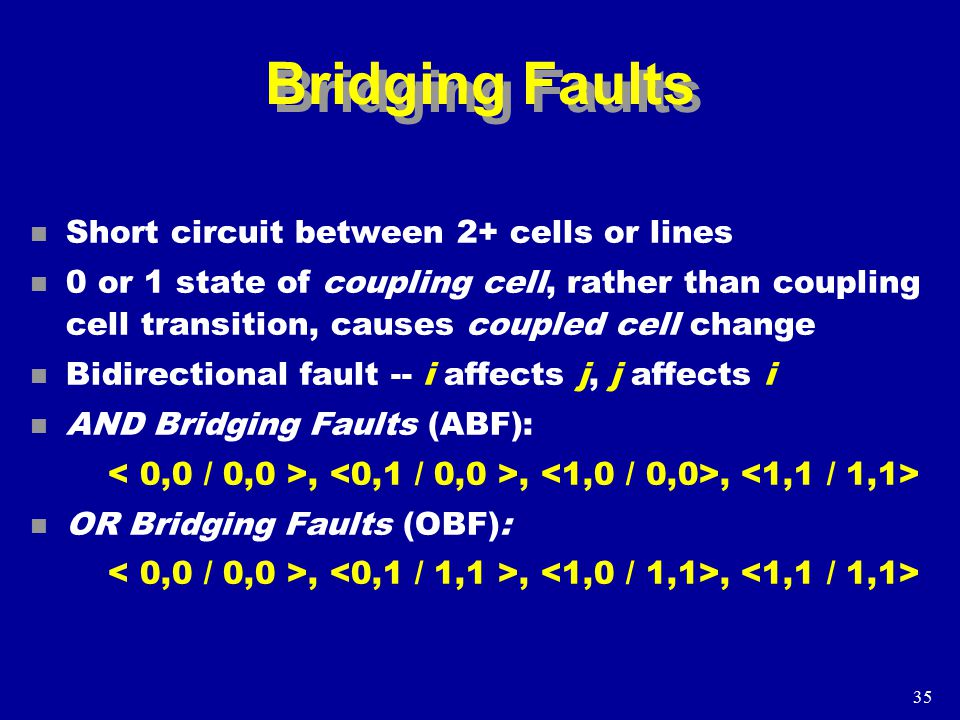35 Bridging Faults n Short circuit between 2+ cells or lines n 0 or 1 state of coupling cell, rather than coupling cell transition, causes coupled cell change n Bidirectional fault -- i affects j, j affects i n AND Bridging Faults (ABF):,,, n OR Bridging Faults (OBF):,,,