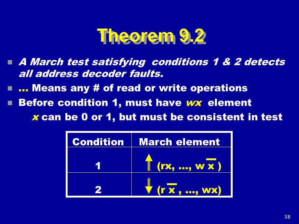 38 Theorem 9.2 n A March test satisfying conditions 1 & 2 detects all address decoder faults.