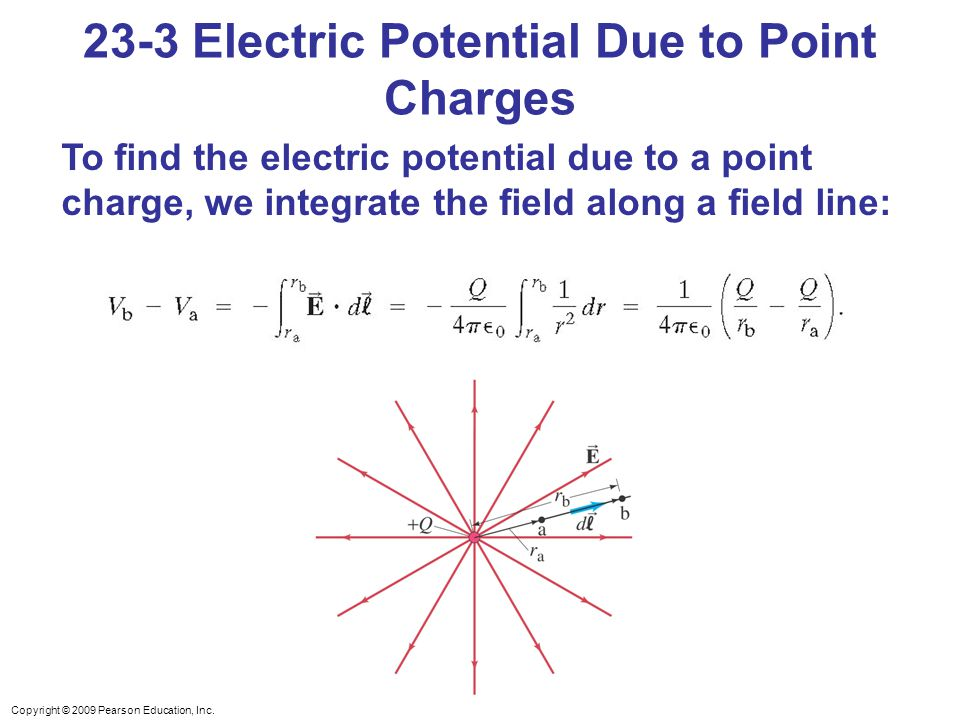 Copyright © 2009 Pearson Education, Inc. 23-3 Electric Potential Due to Point Charges To find the electric potential due to a point charge, we integra