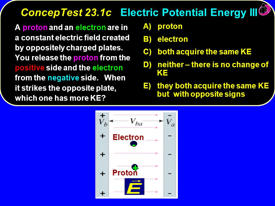 electron proton Electron Proton + - A) proton B) electron C) both acquire the same KE D) neither – there is no change of KE E) they both acquire the same KE but with opposite signs ConcepTest 23.1cElectric Potential Energy III ConcepTest 23.1c Electric Potential Energy III A proton and an electron are in a constant electric field created by oppositely charged plates.