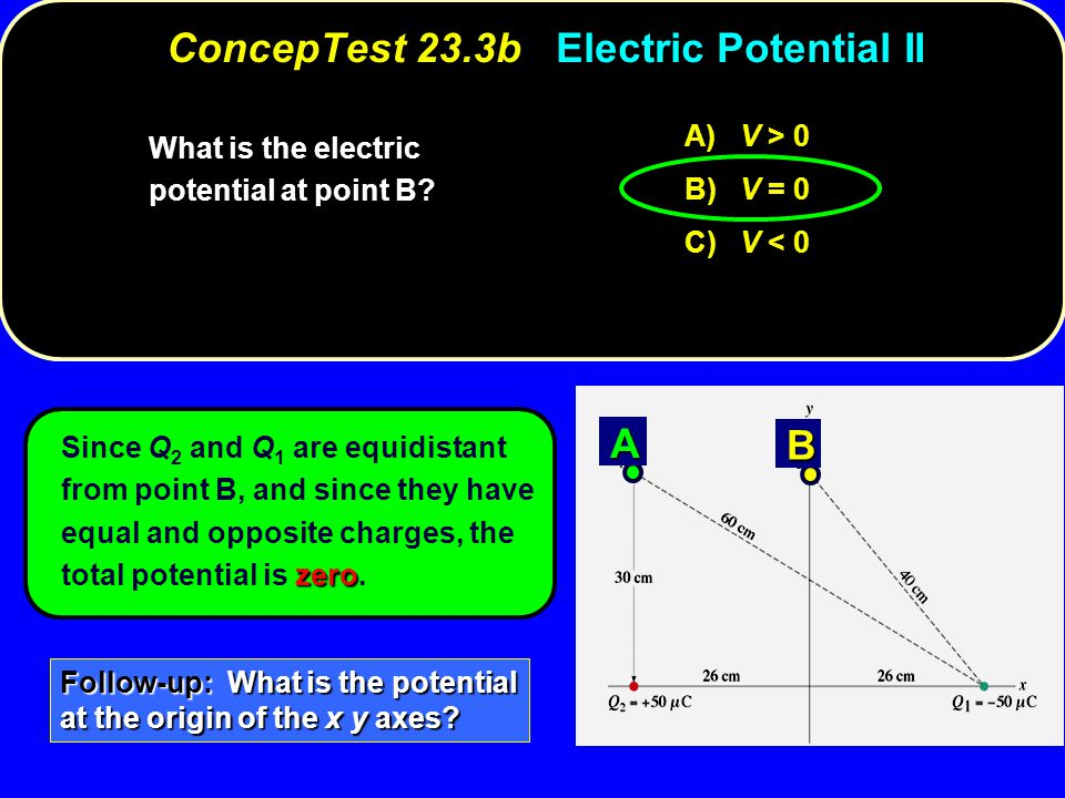 zero Since Q 2 and Q 1 are equidistant from point B, and since they have equal and opposite charges, the total potential is zero. A) V > 0 B) V = 0 C)