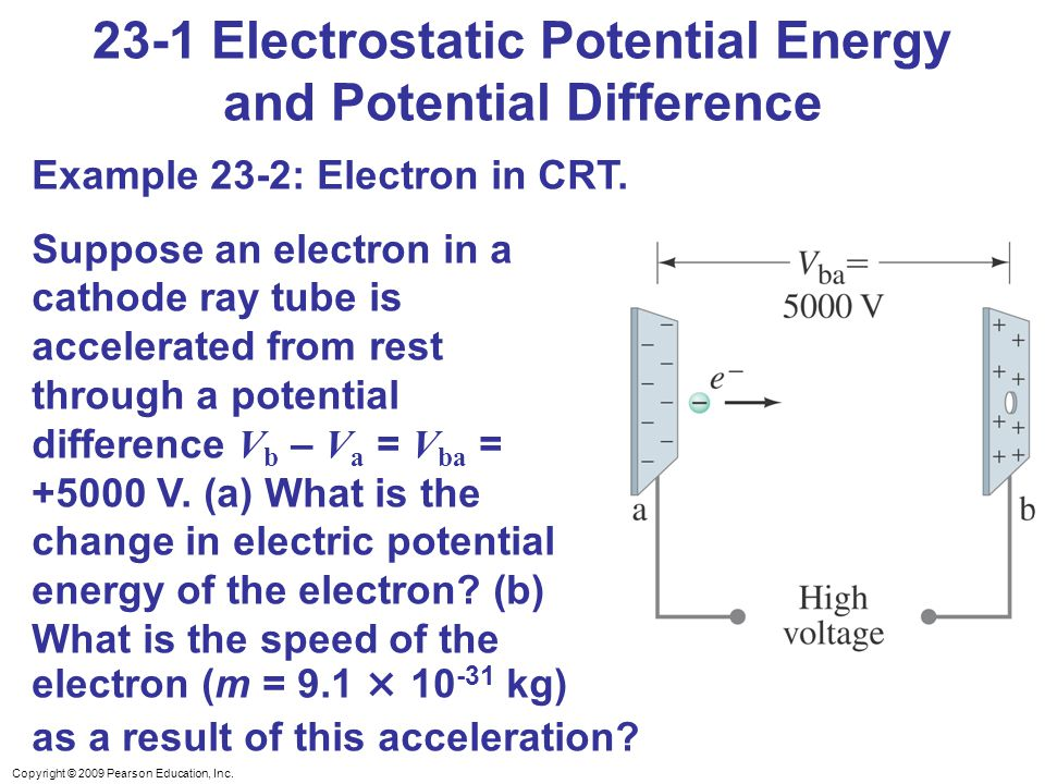 Copyright © 2009 Pearson Education, Inc. 23-1 Electrostatic Potential Energy and Potential Difference Example 23-2: Electron in CRT. Suppose an electr