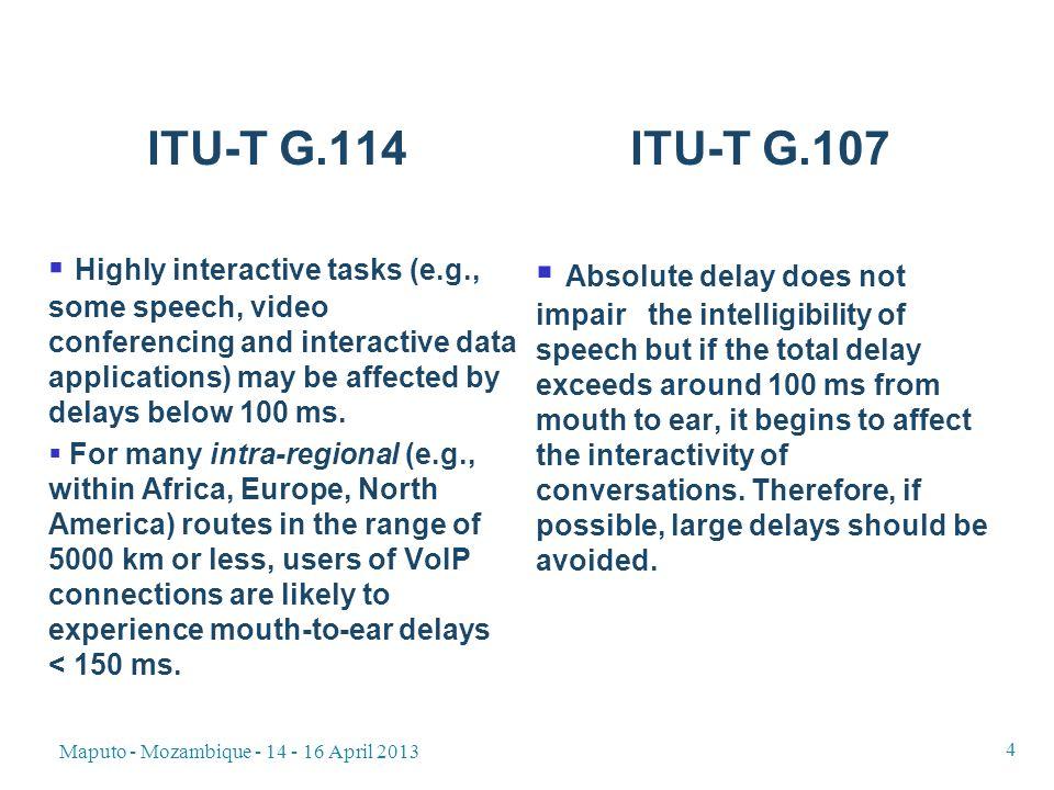Maputo - Mozambique - 14 - 16 April 2013 25 Delay with regional propagation delay (1 400 km / 7 ms) Uplink / Downlink 256 kbit/s 384 kbit/s 512 kbit/s 768 kbit/s 1024 kbit/s 1152 kbit/s 1536 kbit/s 2048 kbit/s 2304 kbit/s 3072 kbit/s 6144 kbit/s POTS -----------55 ms R=91 256 kbit/s128 ms R=90 118 ms R=90 113 ms R=90 108 ms R=90 104 ms R=90 103 ms R=91 102 ms R=911 101 ms R=91 101 ms R=91 100 ms R=91 97 ms R=91 82 ms R=91 384 kbit/s-108 ms R=90 102 ms R=91 97 ms R=91 95 ms R=91 93 ms R=91 94 ms R=91 92 ms R=80 92 ms R=91 91 ms R=91 91 ms R=91 75 ms R=91 G.711/20 Uplink / Downlink 256 kbit/s 384 kbit/s 512 kbit/s 768 kbit/s 1024 kbit/s 1152 kbit/s 1536 kbit/s 2048 kbit/s 2304 kbit/s 3072 kbit/s 6144 kbit/s POTS 512 kbit/s --97 ms R=91 92 ms R=91 91 ms R=91 91 ms R=91 91 ms R=91 91 ms R=91 90 ms R=91 90 ms R=91 90 ms R=91 74 ms R=91 768 kbit/s ---91 ms R=91 90 ms R=91 90 ms R=91 90 ms R=91 89 ms R=91 89 ms R=91 89 ms R=91 89 ms R=91 73 ms R=91 1024 kbit/s ----90 ms R=91 89 ms R=91 89 ms R=91 89 ms R=91 89 ms R=91 88 ms R=91 88 ms R=91 73 ms R=91 2048 kbit/s -------88 ms R=91 88 ms R=91 88 ms R=91 88 ms R=91 88 ms R=91 GSM202 ms R=81 196 ms R=81 194ms R=82 193 ms R=82 193 ms R=82 192 ms R=82 192 ms R=82 192 ms R=82 192 ms R=82 191 ms R=82 191 ms R=82 175 ms R=83 UMTS Rel.4207 ms R=80 201 ms R=81 199 ms R=81 198 ms R=81 198 ms R=81 197 ms R=81 197 ms R=81 197 ms R=81 197 ms R=81 196 ms R=81 196 ms R=81 180 ms R=82 LTE163ms157 ms 155 ms 154 ms 153 ms 152 ms 136 ms