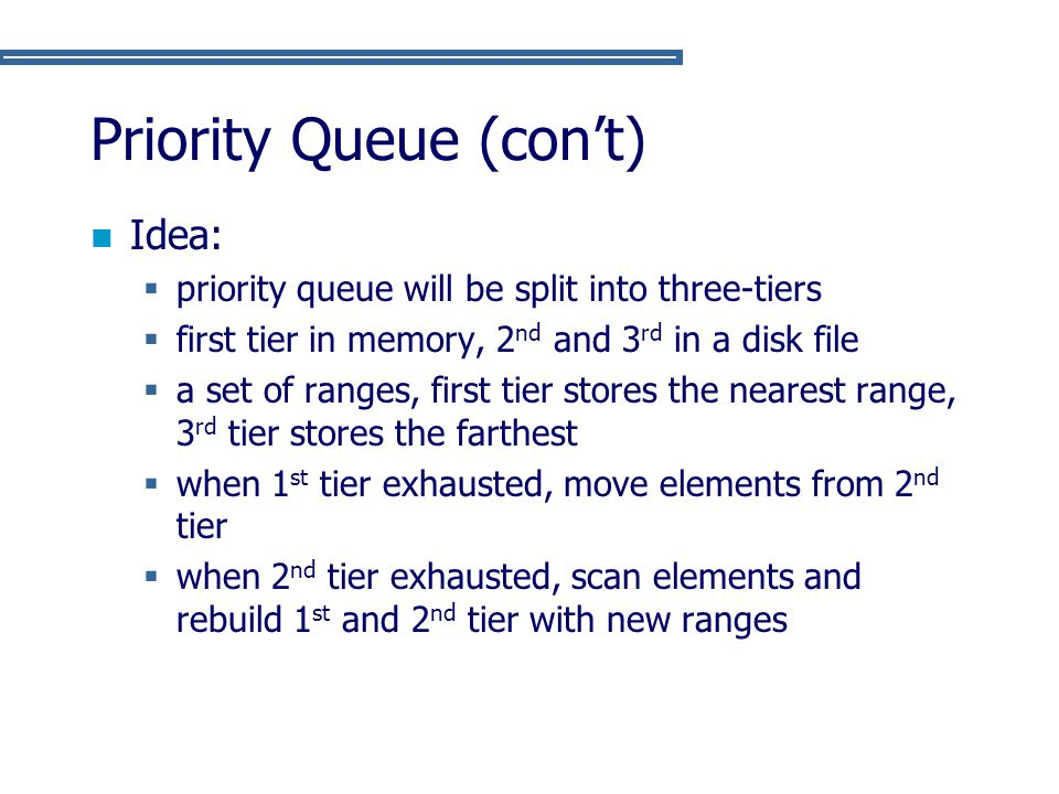 Priority Queue (con't) Idea:  priority queue will be split into three-tiers  first tier in memory, 2 nd and 3 rd in a disk file  a set of ranges, f