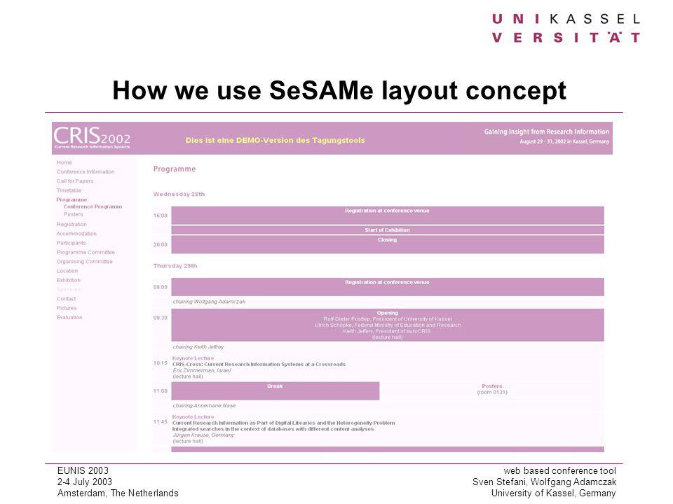 EUNIS 2003web based conference tool 2-4 July 2003Sven Stefani, Wolfgang Adamczak Amsterdam, The NetherlandsUniversity of Kassel, Germany How we use SeSAMe layout concept