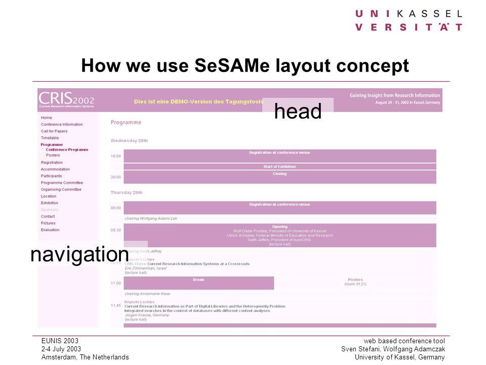 EUNIS 2003web based conference tool 2-4 July 2003Sven Stefani, Wolfgang Adamczak Amsterdam, The NetherlandsUniversity of Kassel, Germany How we use SeSAMe layout concept navigation head