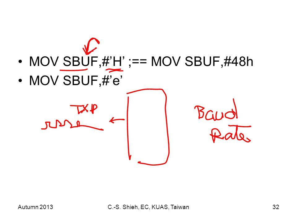 Autumn 2013C.-S. Shieh, EC, KUAS, Taiwan32 MOV SBUF,#'H' ;== MOV SBUF,#48h MOV SBUF,#'e'