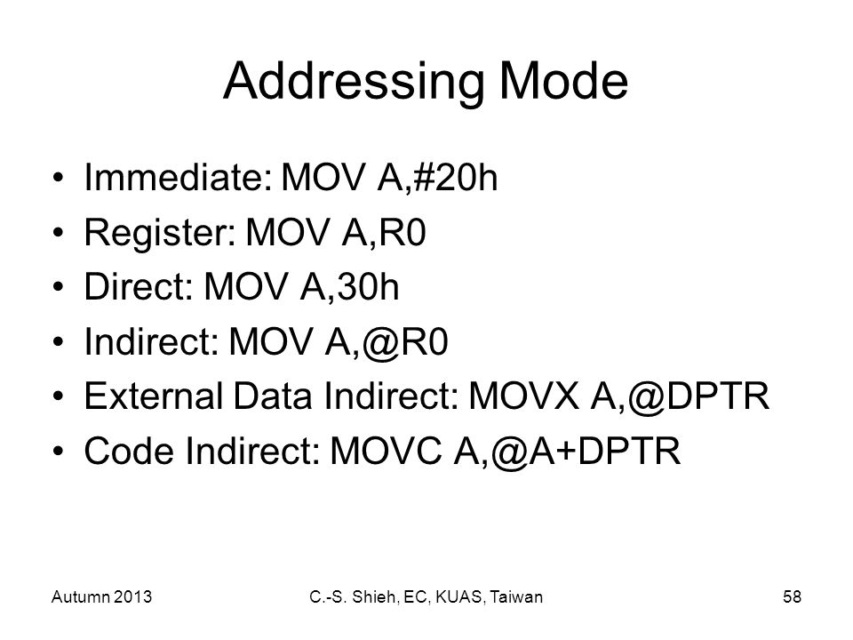Autumn 2013C.-S. Shieh, EC, KUAS, Taiwan58 Addressing Mode Immediate: MOV A,#20h Register: MOV A,R0 Direct: MOV A,30h Indirect: MOV A,@R0 External Dat