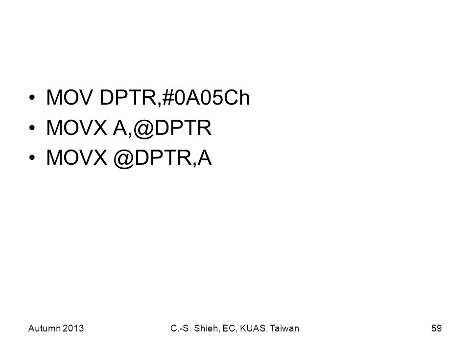 Autumn 2013C.-S. Shieh, EC, KUAS, Taiwan59 MOV DPTR,#0A05Ch MOVX A,@DPTR MOVX @DPTR,A