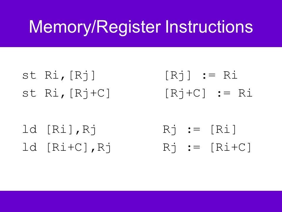 Memory/Register Instructions st Ri,[Rj][Rj] := Ri st Ri,[Rj+C][Rj+C] := Ri ld [Ri],RjRj := [Ri] ld [Ri+C],Rj Rj := [Ri+C]