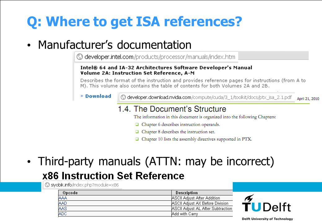 Q: Where to get ISA references? Manufacturer's documentation Third-party manuals (ATTN: may be incorrect)