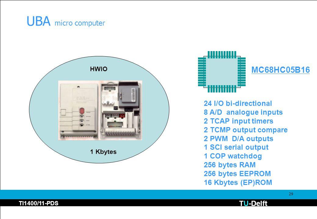 TU-Delft TI1400/11-PDS 29 UBA micro computer HWIO 1 Kbytes MC68HC05B16 24 I/O bi-directional 8 A/D analogue inputs 2 TCAP input timers 2 TCMP output compare 2 PWM D/A outputs 1 SCI serial output 1 COP watchdog 256 bytes RAM 256 bytes EEPROM 16 Kbytes (EP)ROM