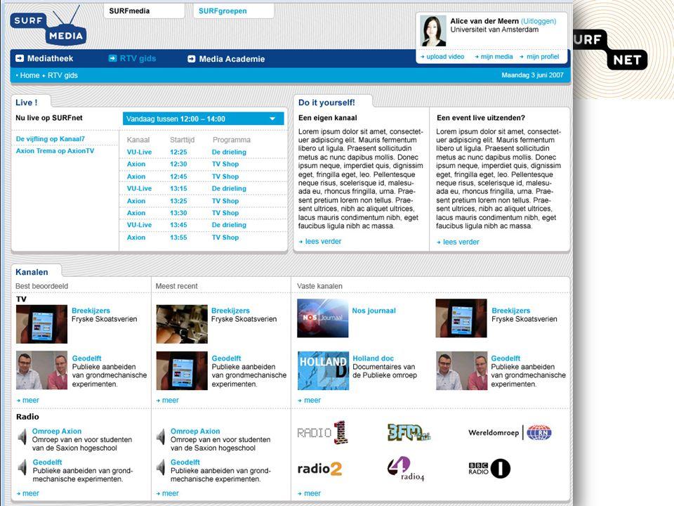 SURFnet, grensverleggend netwerk voor hoger onderwijs en onderzoek10 SURFmedia