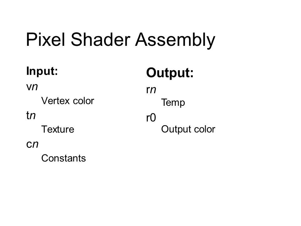 Pixel Shader Assembly Input: vn Vertex color tn Texture cn Constants Output: rn Temp r0 Output color
