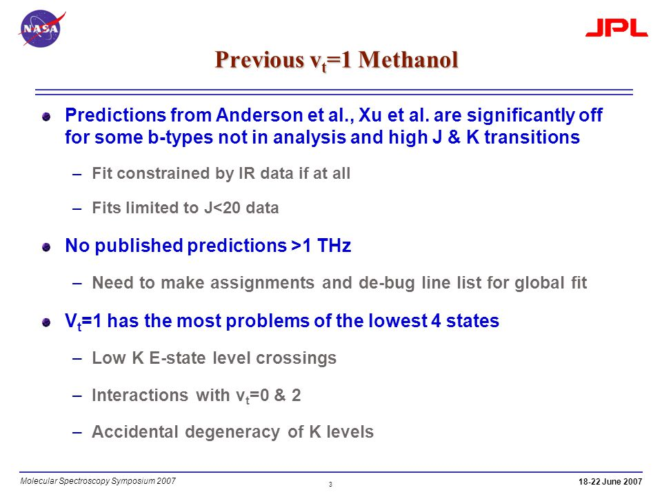 3 Molecular Spectroscopy Symposium 2007 18-22 June 2007 Previous v t =1 Methanol Predictions from Anderson et al., Xu et al. are significantly off for