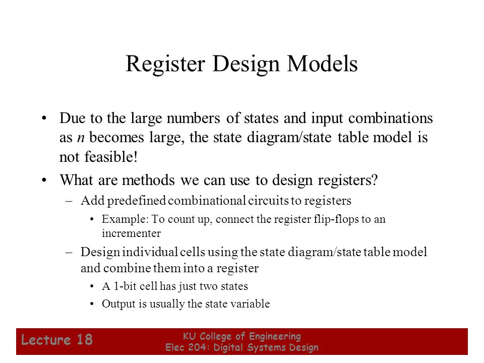 14 KU College of Engineering Elec 204: Digital Systems Design Lecture 18 Arithmetic Microoperations From Table 7-3: Note that any register may be specified for source 1, source 2, or destination.