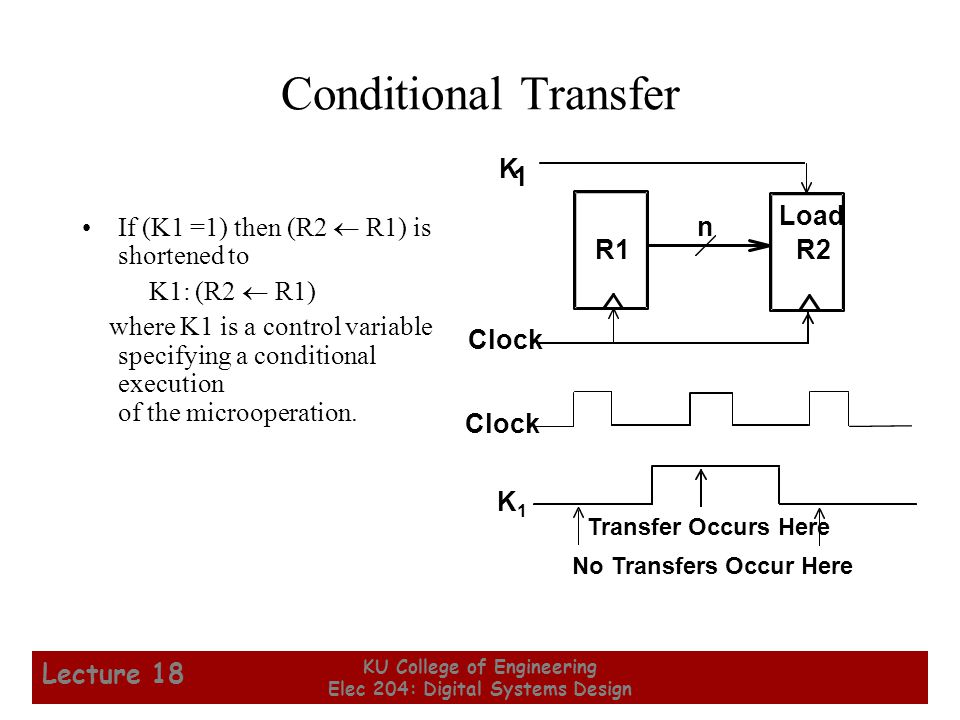 10 KU College of Engineering Elec 204: Digital Systems Design Lecture 18 Microoperations Logical Groupings: –Transfer - move data from one set of registers to another –Arithmetic - perform arithmetic on data in registers –Logic - manipulate data or use bitwise logical operations –Shift - shift data in registers Arithmetic operations + Addition – Subtraction * Multiplication / Division Logical operations  Logical OR  Logical AND  Logical Exclusive OR  Not