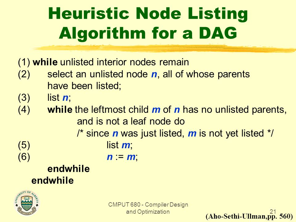 CMPUT 680 - Compiler Design and Optimization21 Heuristic Node Listing Algorithm for a DAG (1) while unlisted interior nodes remain (2)select an unlist