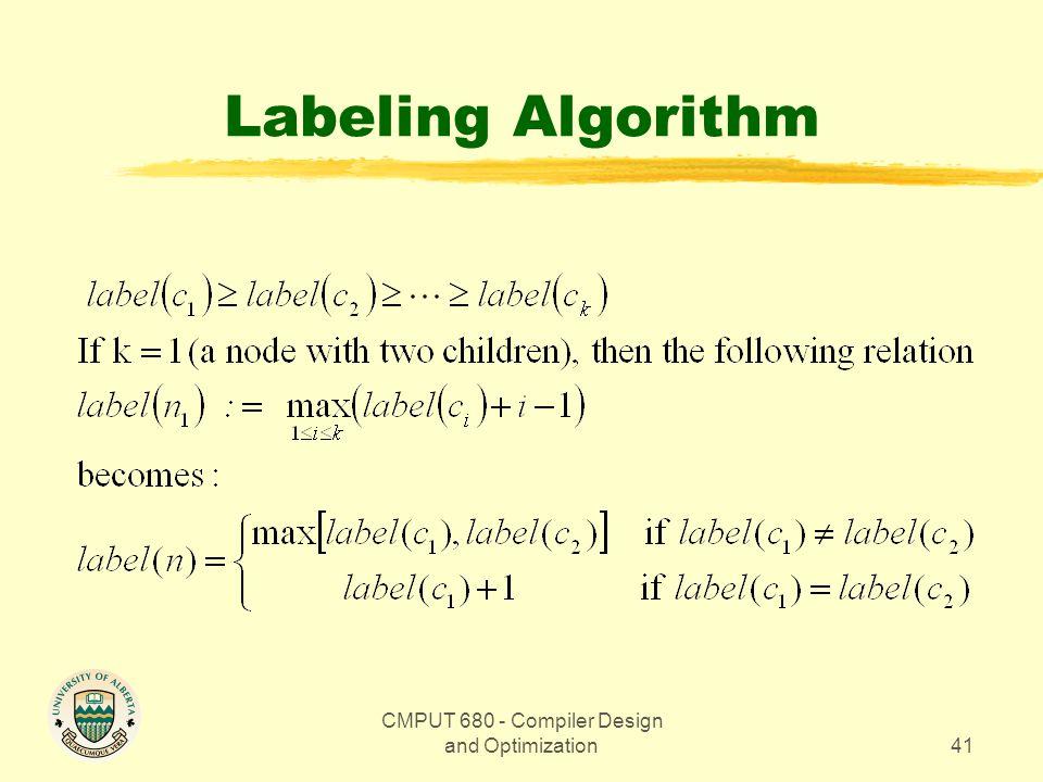 CMPUT 680 - Compiler Design and Optimization41 Labeling Algorithm