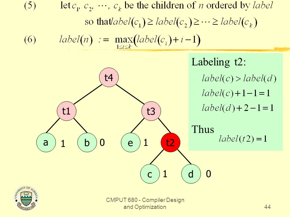 CMPUT 680 - Compiler Design and Optimization44 Example abt2 cd t1t3 e t4 Labeling t2: Thus 1 0 0 1 1