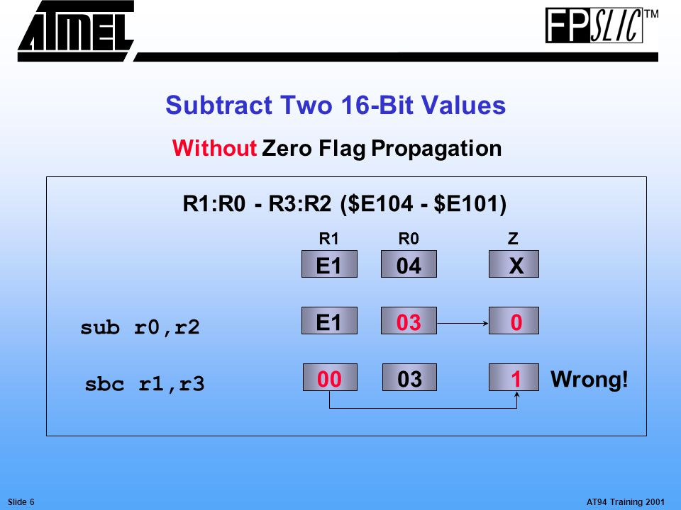 AT94 Training 2001Slide 6 Subtract Two 16-Bit Values Without Zero Flag Propagation R1:R0 - R3:R2 ($E104 - $E101) R1R0 E1 sub r0,r2 03 Z 0 sbc r1,r3 03