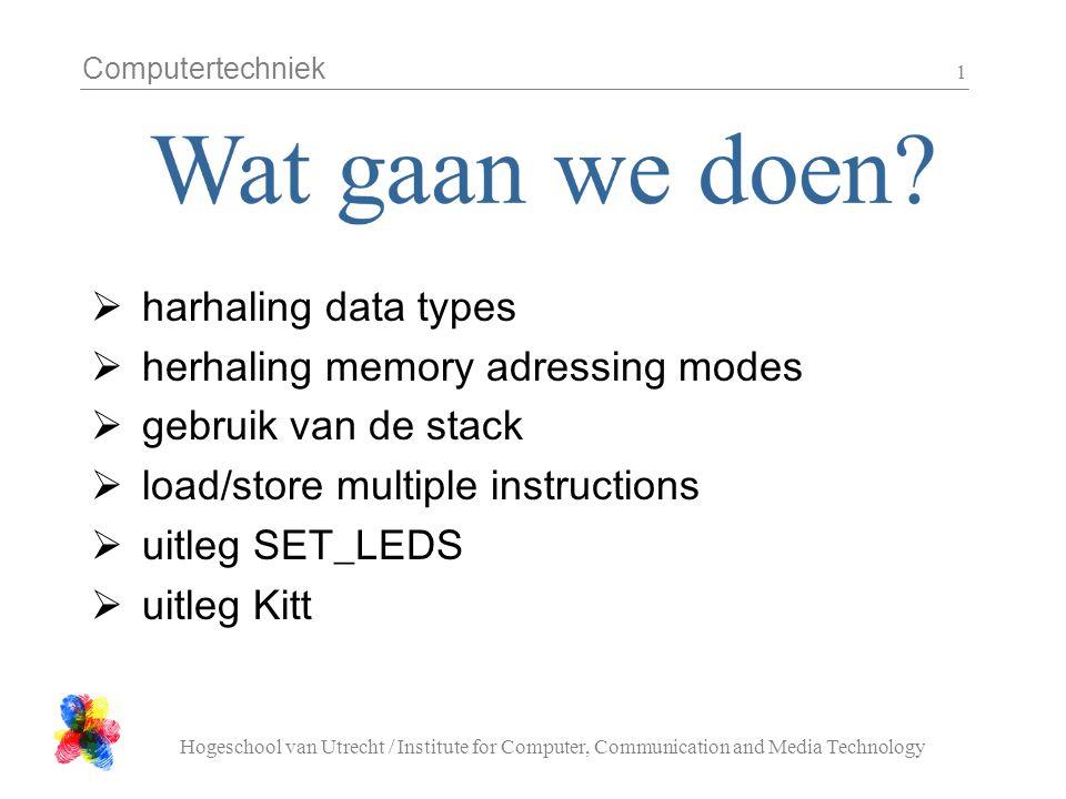 Computertechniek Hogeschool van Utrecht / Institute for Computer, Communication and Media Technology 1  harhaling data types  herhaling memory adres