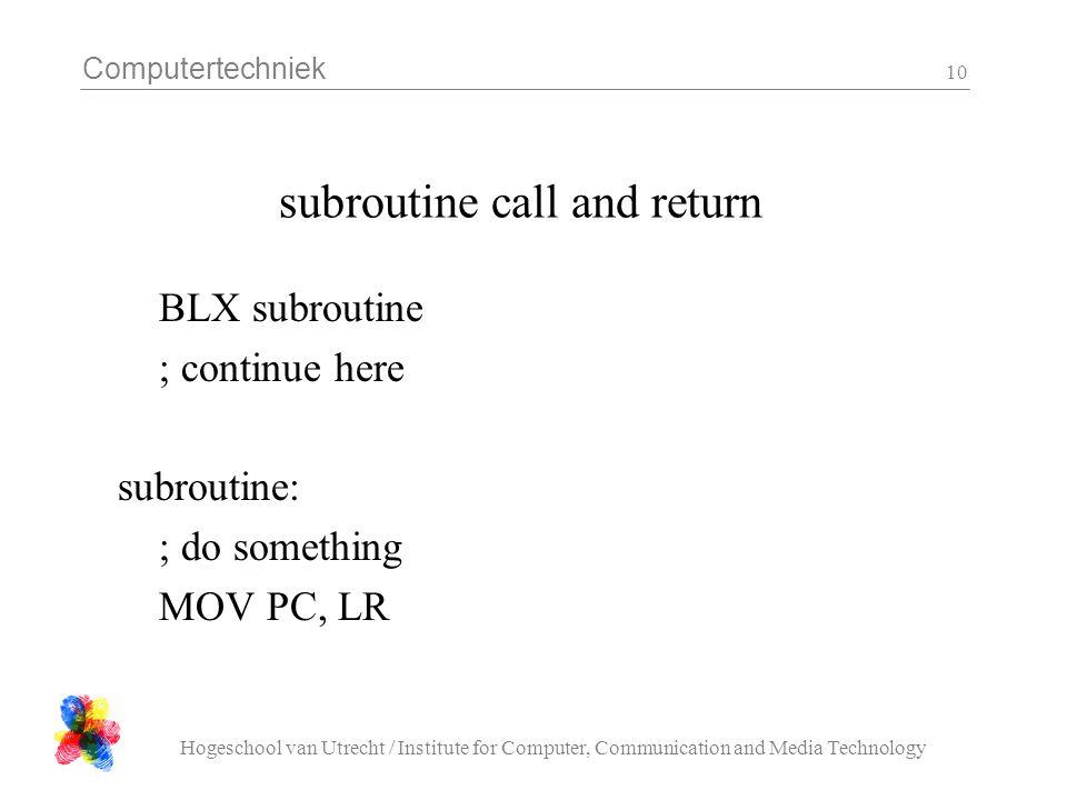 Computertechniek Hogeschool van Utrecht / Institute for Computer, Communication and Media Technology 10 subroutine call and return BLX subroutine ; co