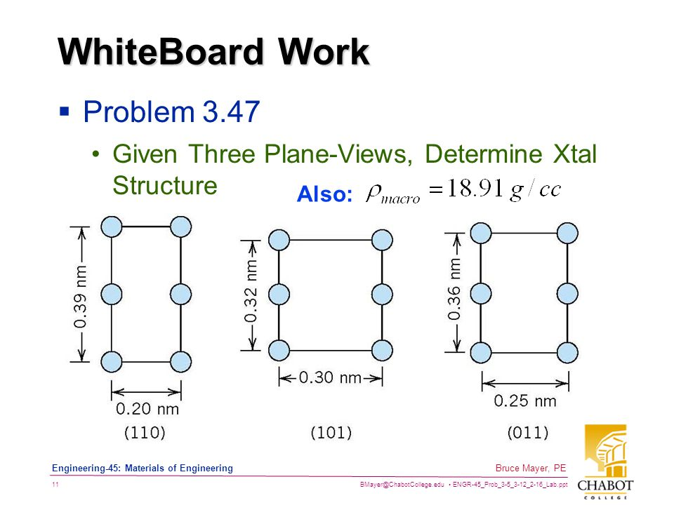 BMayer@ChabotCollege.edu ENGR-45_Prob_3-5_3-12_2-16_Lab.ppt 11 Bruce Mayer, PE Engineering-45: Materials of Engineering WhiteBoard Work  Problem 3.47 Given Three Plane-Views, Determine Xtal Structure Also: