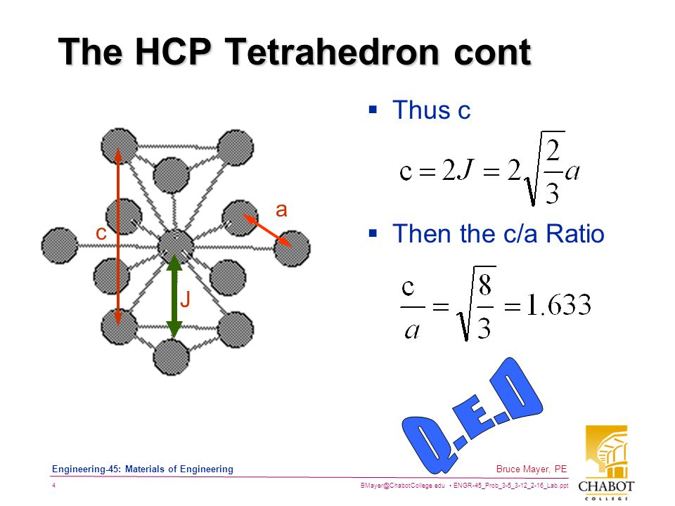 BMayer@ChabotCollege.edu ENGR-45_Prob_3-5_3-12_2-16_Lab.ppt 4 Bruce Mayer, PE Engineering-45: Materials of Engineering The HCP Tetrahedron cont  Then the c/a Ratio c J a  Thus c