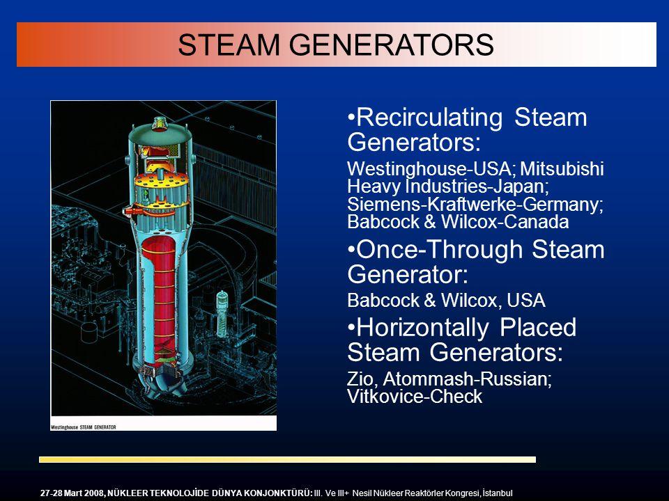 Recirculating Steam Generators: Westinghouse-USA; Mitsubishi Heavy Industries-Japan; Siemens-Kraftwerke-Germany; Babcock & Wilcox-Canada Once-Through
