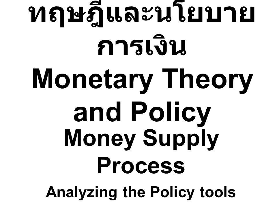ทฤษฎีและนโยบาย การเงิน Monetary Theory and Policy Money Supply Process Analyzing the Policy tools
