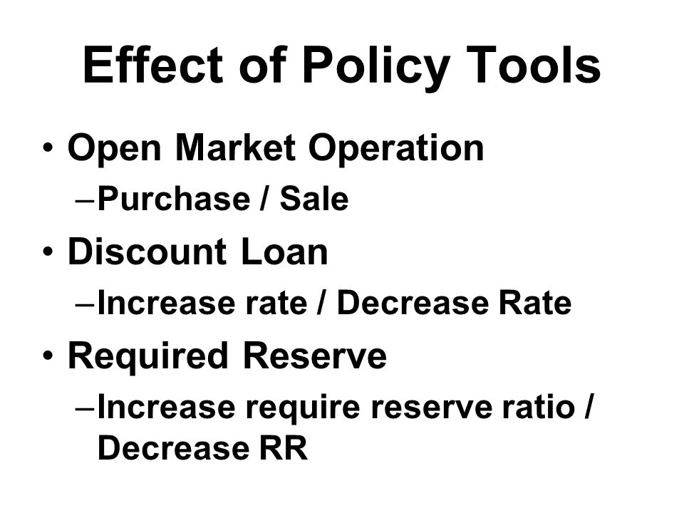 Effect of Policy Tools Open Market Operation –Purchase / Sale Discount Loan –Increase rate / Decrease Rate Required Reserve –Increase require reserve