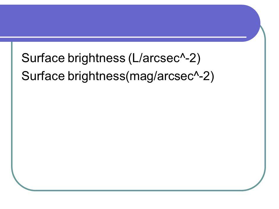 Surface brightness (L/arcsec^-2) Surface brightness(mag/arcsec^-2)