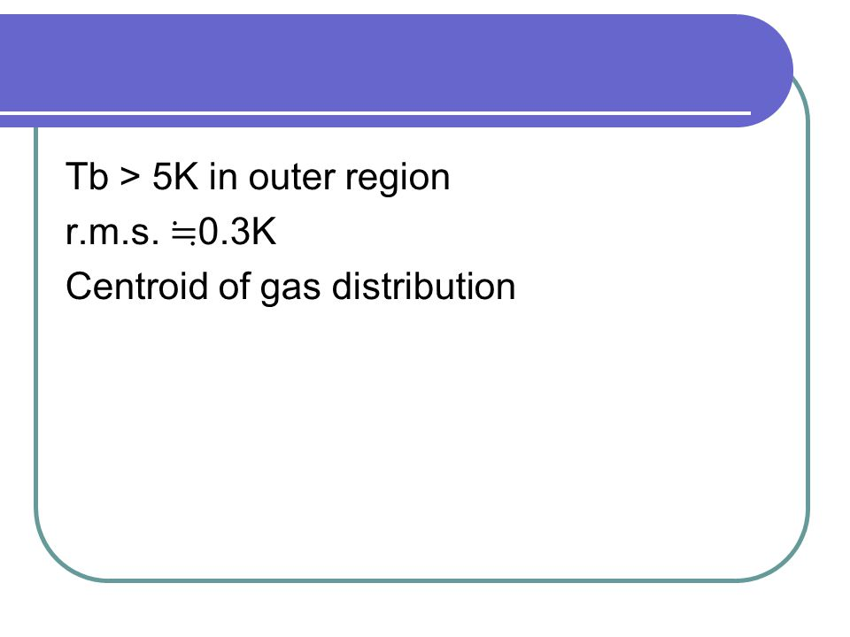 Tb > 5K in outer region r.m.s. ≒ 0.3K Centroid of gas distribution