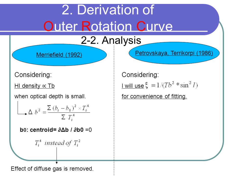 2-2. Analysis 2. Derivation of Outer Rotation Curve Merriefield (1992) Petrovskaya, Terrikorpi (1986) Considering: HI density ∝ Tb when optical depth