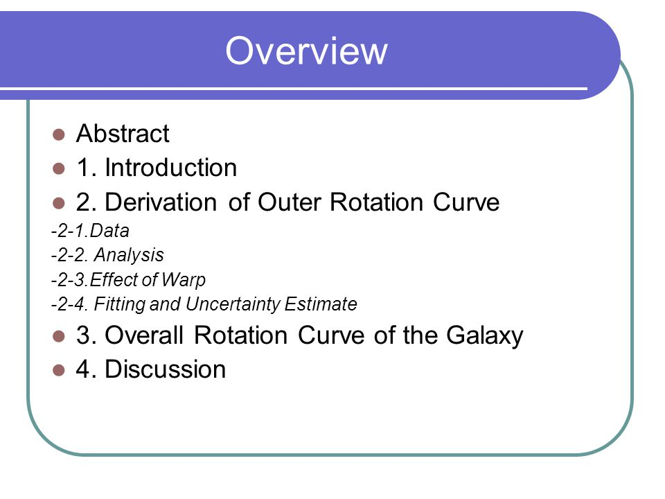 Overview Abstract 1. Introduction 2. Derivation of Outer Rotation Curve -2-1.Data -2-2. Analysis -2-3.Effect of Warp -2-4. Fitting and Uncertainty Est